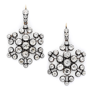 A Pair Of Antique Diamond Snowflake Ear Pendants