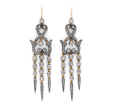 A Pair Of Antique Diamond Ear Pendants, Circa 1870