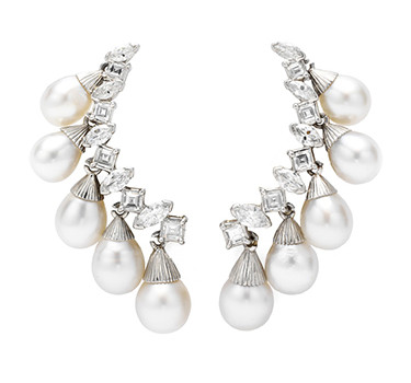 A Pair Of Sterle Cultured Pearl And Diamond Ear Pendants, By Sterle, Circa 1950