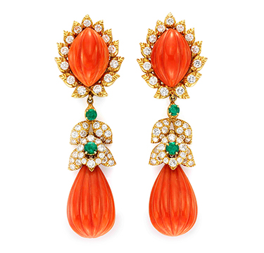 A Pair of Carved Coral, Emerald and Diamond Ear Pendants, by David Webb