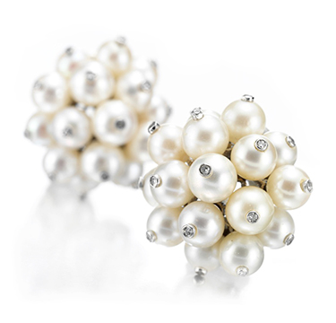 A Pair of Cultured Pearl and Diamond Ear Clips, by Boivin