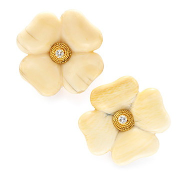 A Pair Of Ivory And Diamond Flower Ear Clips, By Fred