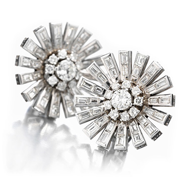 A Pair of Diamond and Platinum Ear Clips, by Paul Flato, circa 1938