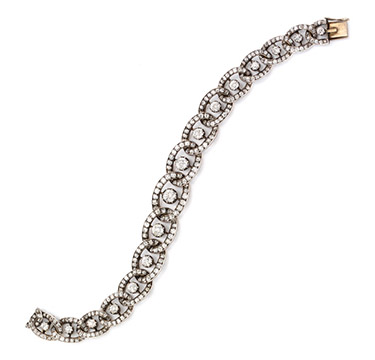 An Antique Diamond and Silver-topped Gold Bracelet, 19th Century