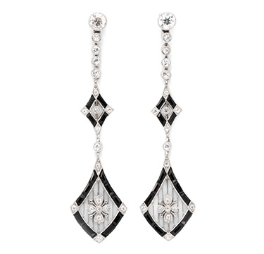 A Pair of Art Deco Onyx and Diamond Ear Pendants, circa 1920