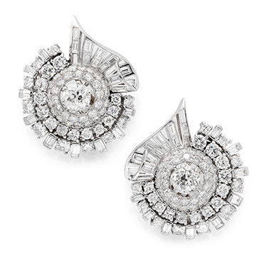A Pair of Diamond and Platinum Ear Clips, circa 1950