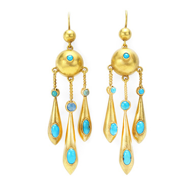 A Pair Of Antique Turquoise And Gold Ear Pendants