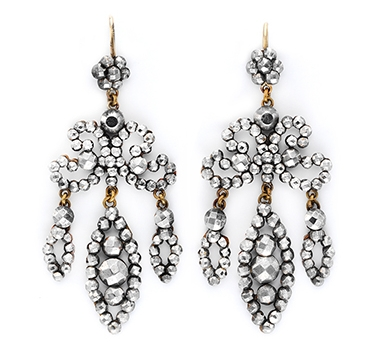 A Pair Of Antique Steel Girandole Ear Pendants