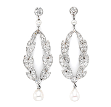 A Pair of Diamond and Pearl Ear Pendants