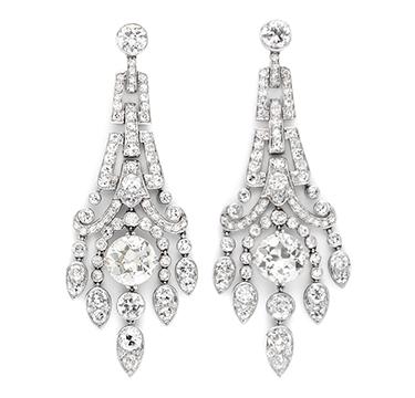 A Pair of Art Deco Diamond Ear Pendants