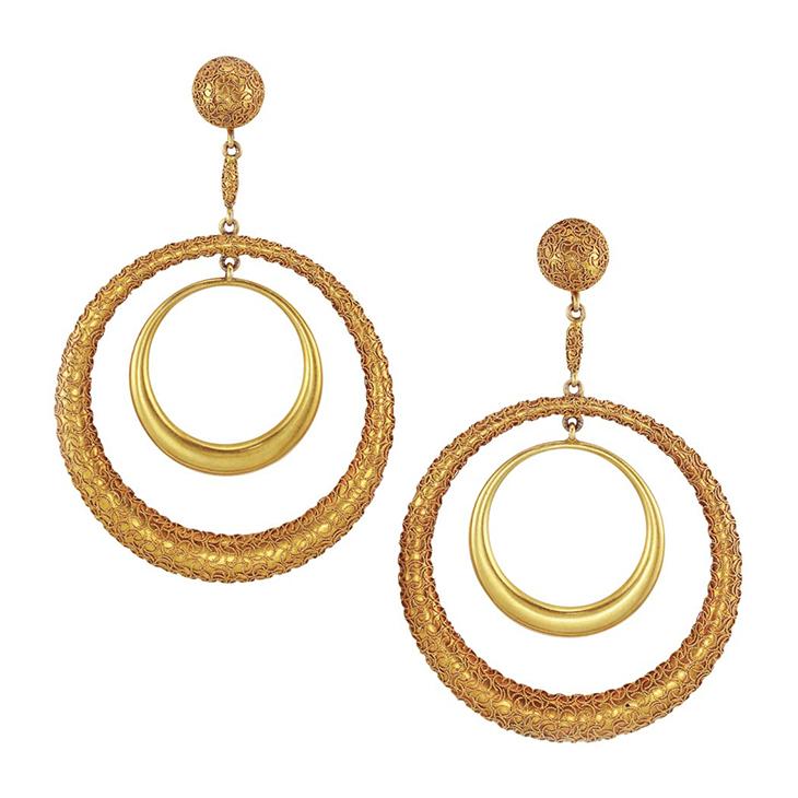 A Pair of Antique Gold Ear Pendants