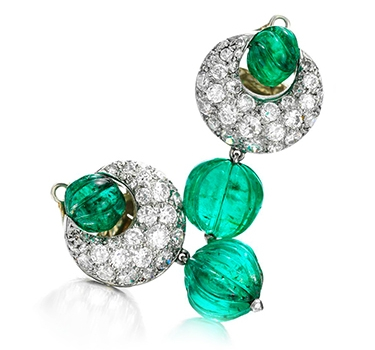 A Pair Of Emerald And Diamond Ear Pendants, By Suzanne Belperron