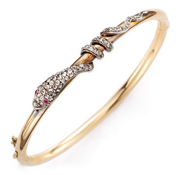 An Antique Diamond and Gold Serpent Bangle, circa 1880