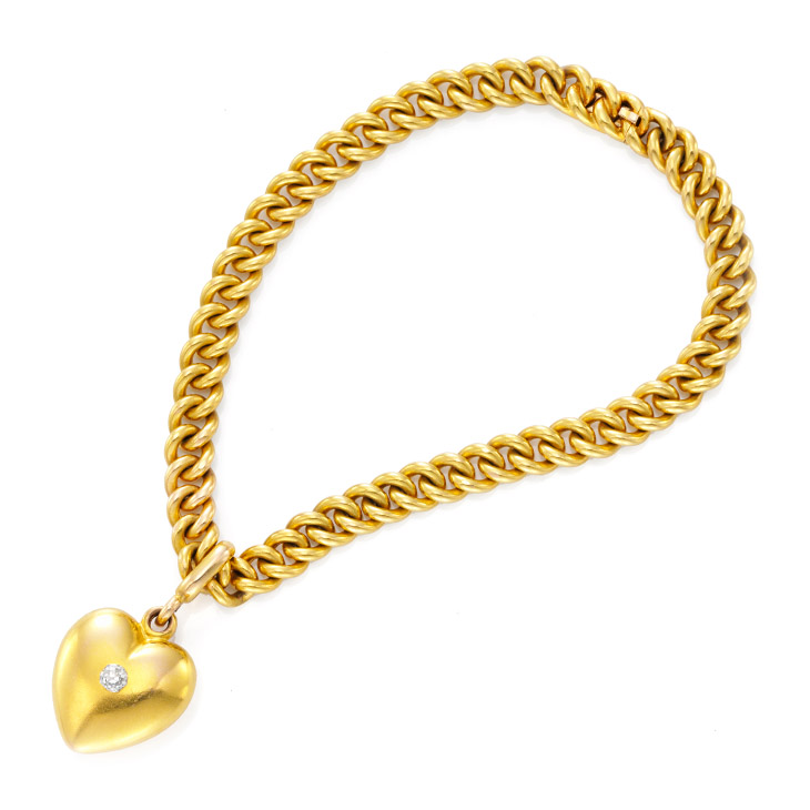 An Antique Gold and Diamond Heart Charm Bracelet, by Tiffany & Co., 19th Century
