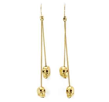 A Pair Of Gold Skull Ear Pendants