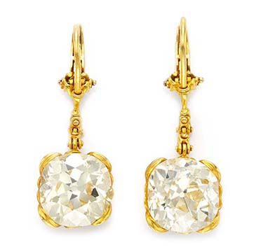 A Pair of Cushion-cut Diamond Ear Pendants, by Otto Jacobs