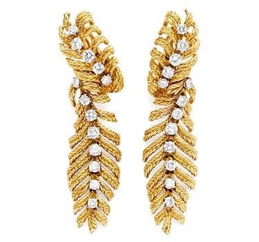 A Pair Of Diamond And Gold Ear Pendants, By Boucheron, Circa 1975