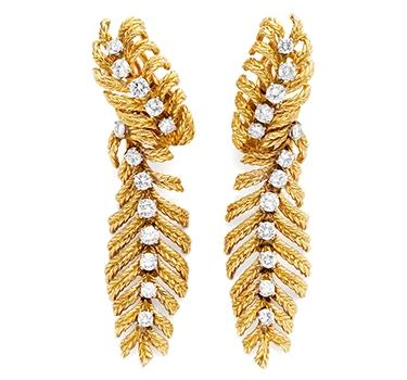 A Pair Of Diamond And Gold Ear Pendants, By Boucheron, Circa 1975
