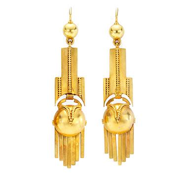 A Pair Of Antique Gold Ear Pendants, Circa 1860