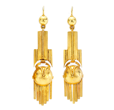 A Pair of Antique Gold Ear Pendants, circa 1860