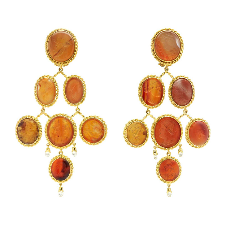 A Pair of Carnelian and Diamond Ear Pendants