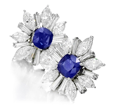 A Pair Of Burmese Sapphire And Diamond Ear Clips, By Harry Winston