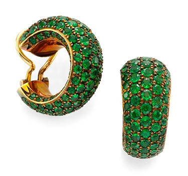 A Pair Of Tsavorite Garnet Hoop Ear Clips, By Hemmerle