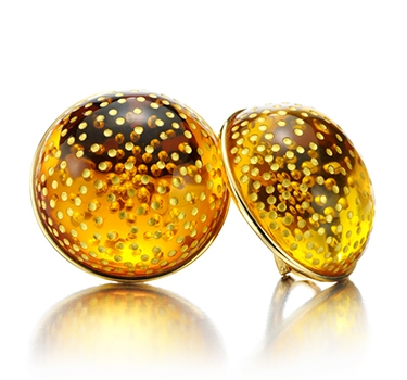 A Pair Of Amber And Gold Ear Clips, By JAR