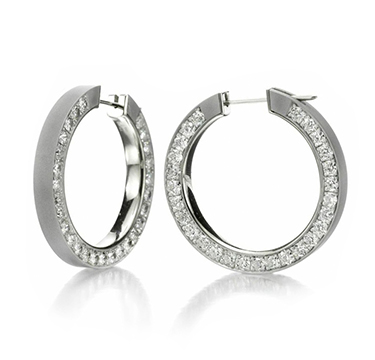 A Pair of Diamond and Sandblasted Gold Hoop Earrings, by Hemmerle