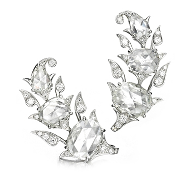 A Pair Of Diamond And Platinum Ear Clips, By Bhagat