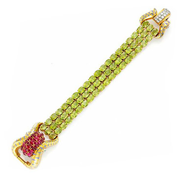 A Ruby, Peridot and Enamel Bracelet, by Lacloche, circa 1940
