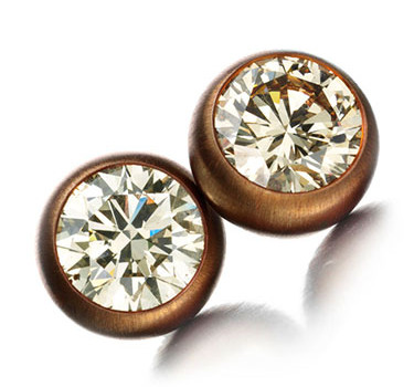 A Pair Of Copper And Diamond Stud Earrings, Weighing Approximately 6.50 Carats, By Hemmerle