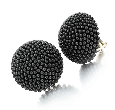 A Pair of Hematite and Gold Ear clips, by Hemmerle