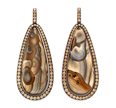 A Pair Of Jasper And Diamond Ear Pendants, By Hemmerle