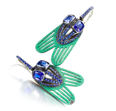 A Pair of Sapphire and Copper Fly Ear Pendants, by Hemmerle