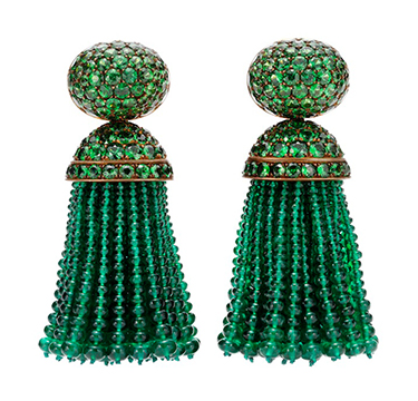 A Pair of Emerald and Tsavorite Ear Pendants, by Hemmerle