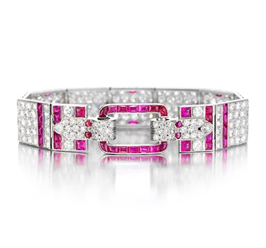 An Art Deco Ruby And Diamond Bracelet, Circa 1925
