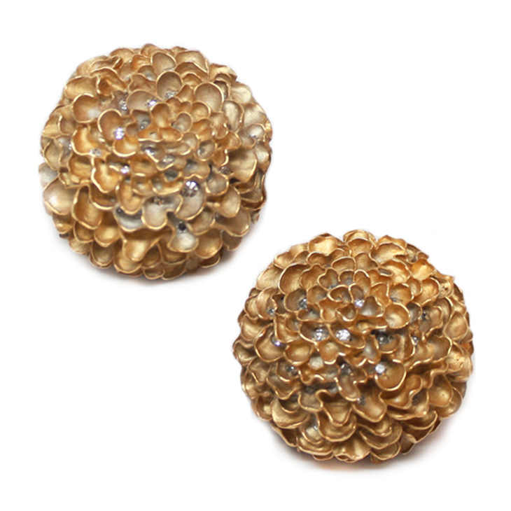 A Pair of Gold and Diamond Chrysanthemum Ear Clips, by JAR