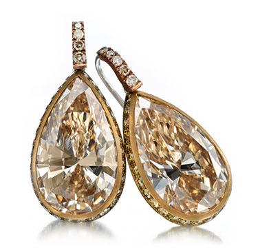 A Pair of Colored Diamond Ear Pendants, by Hemmerle