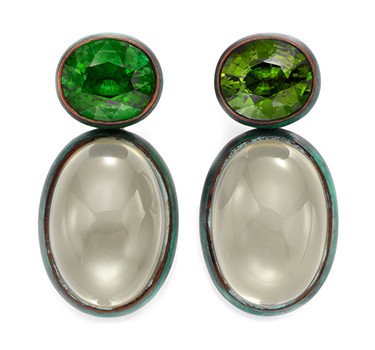 A Pair Of Tourmaline And Moonstone Ear Pendants, By Hemmerle