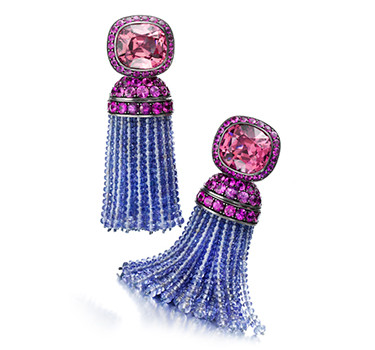A Pair Of Spinel And Sapphire Tassel Ear Pendants, By Hemmerle
