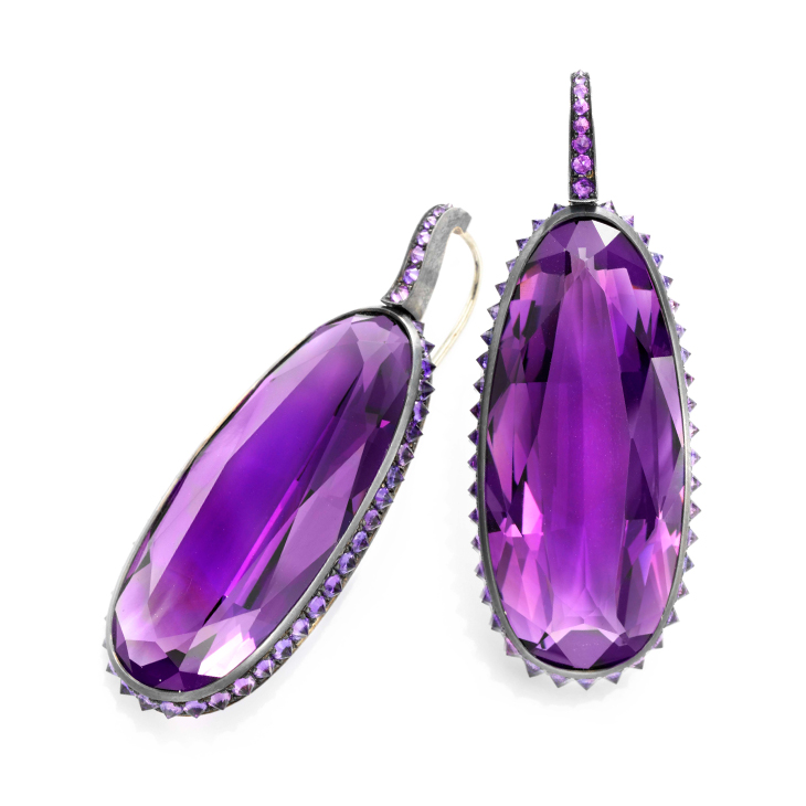 A Pair of Amethyst Ear Pendants, by Hemmerle