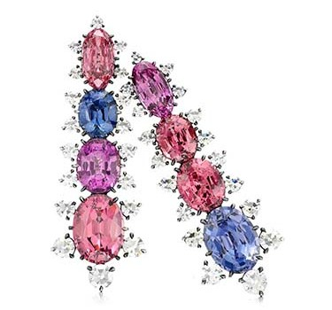 A Pair Of Multi-colored Spinel And Single-cut Diamond Ear Clips, By JAR