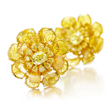 A Pair Of Yellow Diamond Ear Clips By Bhagat