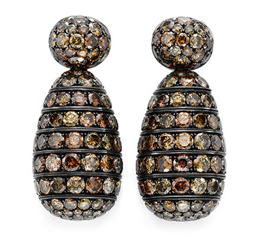 A Pair Of Colored Diamond Ear Pendants By Hemmerle