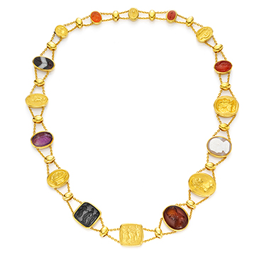 A Multi-gem, Hardstone and Gold Intaglio Necklace, by Hemmerle