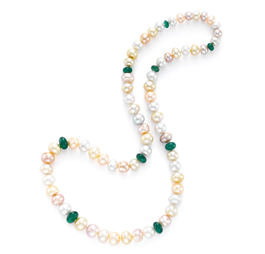 A South Sea Pearl And Emerald Bead Strand, By Taffin