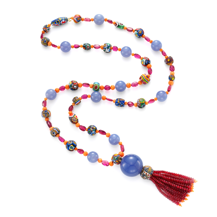 A Tourmaline and Venetian Bead Sautoir, by Taffin