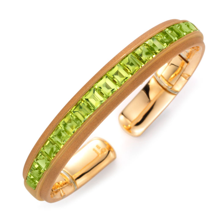 A Peridot and Gold Bangle, by Hemmerle