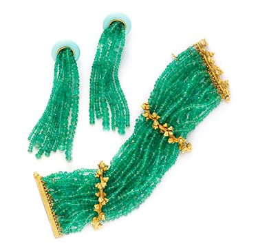 A Set of Emerald, Turquoise and Gold Jewelry, by Taffin
